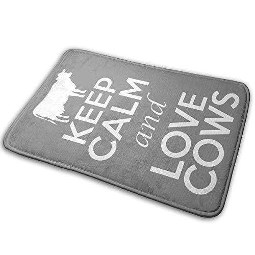 BOOM-BM Keep Calm and Love Cows Non-Slip Soft and Absorbent Memory Foam Bathroom Bath Mat Rug Carpet