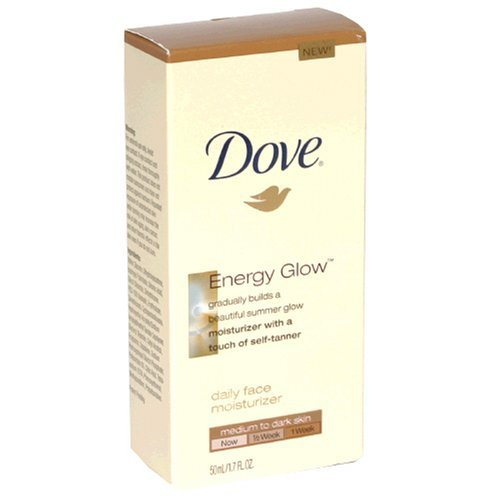 Dove Energy Glow Daily Face Moisturizer with Self-Tanner, Medium/Dark Skin, 1.7-Fluid Ounce (50 (Sun Kissed Facial Moisturizer)