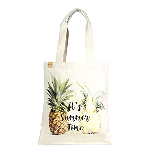Me Plus Eco Cotton Canvas Stylish Printed Fashion Shopping and Travel Tote Bag (Pineapple-2 (Summer Time))