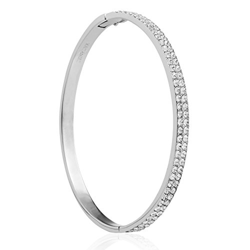 Matashi 18k White Gold Plated Luxurious Cuff Bangle Bracelet with 2 Rows of Sparkling Crystal Pave Design for Women by Sparkling Pave Bracelet