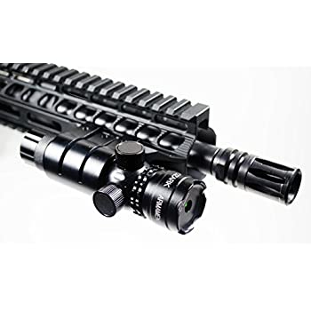Green Laser Sight System by Ozark Armament - 5mw 532nm High Powered Tactical Green Laser with Picatinny Rail Mount Barrel Mount Pressure Switch and On/Off Switch for Rifles and Shotguns