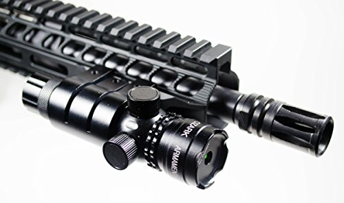 (Green Laser Sight System by Ozark Armament - 5mw 532nm High Powered Tactical Green Laser with Picatinny Rail Mount Barrel Mount Pressure Switch and On/Off Switch for Rifles and)