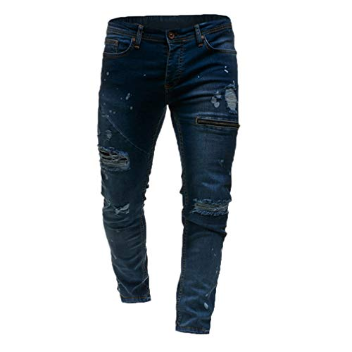 Zip Sfilacciati Aderenti Blu Con Junkai Uomo Jeans Da Pantaloni Elasticizzati Strappati Skinny vnEnwzPq