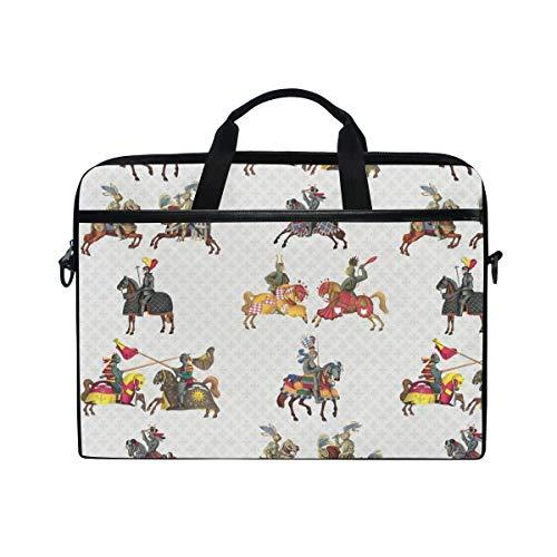 Laptop Briefcase Medieval Knight Cruising Laptop Bag for Men Women Canvas Shoulder Messenger Bag with Fits 15-15.4 Inch