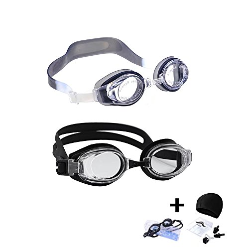 KateDy Swim Goggles,Swimming Goggles for Adult Men Women Youth Kids Child, Waterproof UV Protection Anti Fog,with Swimming Cap,Nose Clip,Ear Plugs -2 - Goggles Swin