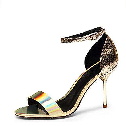 Zapatos de cuero de moda de verano con el rocío hebilla hembra tacones altos Golden