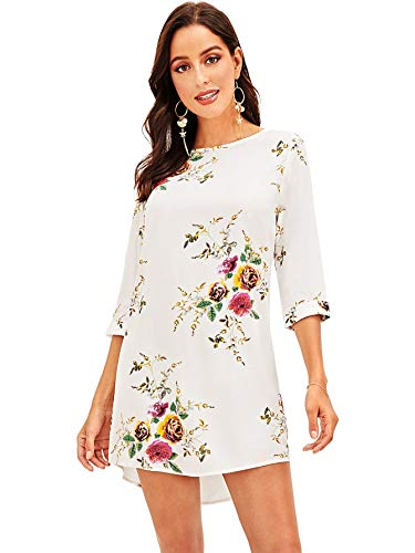 Milumia Women's Casual 3/4 Sleeves Round Neck Cuff Floral Print Tunic Dress White S ()