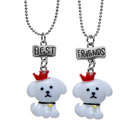 FSMILING Best Friends Bichons Frises Dog Pendant Necklaces Cute BFF Friendship Gifts for 2 Bestfriend (Nintendogs Best Friends Cheats)