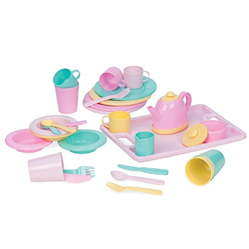 Play Circle by Battat - Dishes Wishes Dinnerware Set - 34-piece Kids Dishes and Utensils Playset - Pretend Play Kitchen Set for Kids Age 3 Years and Up