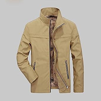 THWS Los Hombres Chaquetas Chaquetas joven líder en larga ropa casual, caqui, M: Amazon.es: Ropa y accesorios
