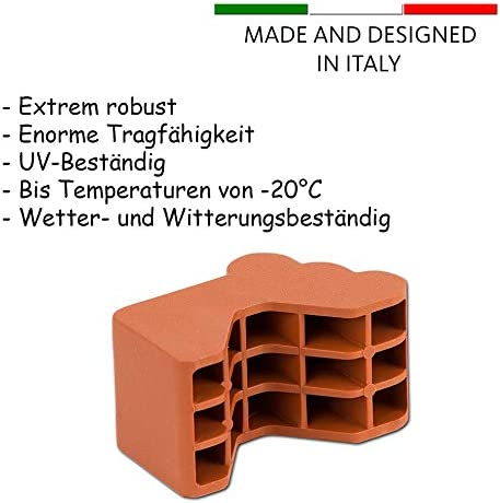 BigDean 12x Blumentopf F/ü/ßchen Terracotta Braun Pflanzk/übel Untersetzer extra stabile Kunststoff F/ü/ße