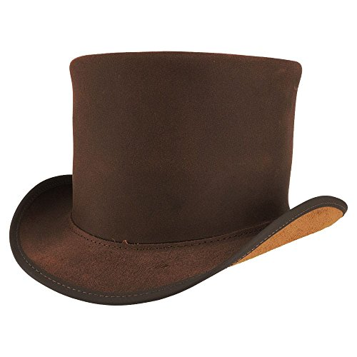 American Hat Makers Topper-Unbanded by Voodoo Hatter Leather Top Hat, Brown-Unbanded - Medium/Large by American Hat Makers