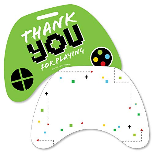 Game Zone - Shaped Thank You Cards - Pixel Video Game Party or Birthday Party Thank You Note Cards with Envelopes - Set of 12