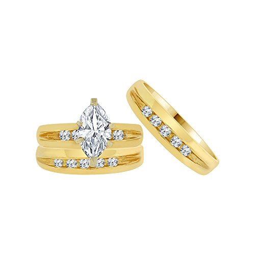 14k Yellow Gold, Trio 3 Piece Wedding Ring Set Marquise Created CZ Crystals 1.0ct by GiveMeGold