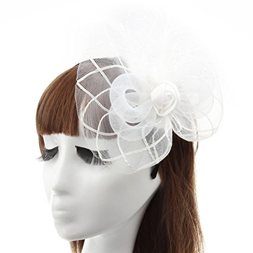 Fascinator Hair Clip Headband Head Hoop Feather Rose Flower Derby Cocktail Party Wedding Women White (Halloween Prop Making Books)