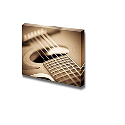 Canvas Prints Wall Art - Close Up of a Guitar Vintage/Retro Style | Modern Wall Decor/Home Decoration Stretched Gallery Canvas Wrap Giclee Print & Ready to Hang - 16