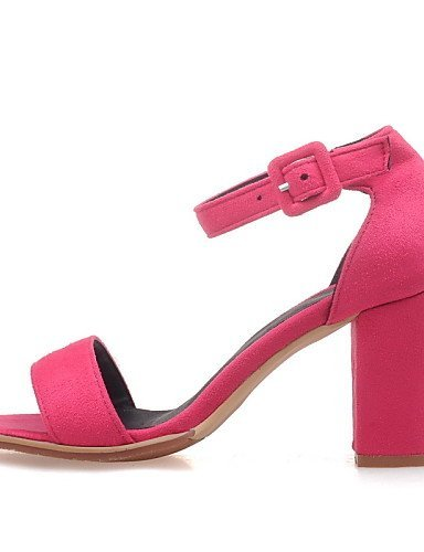 ShangYi Women's Shoes Chunky Heel Open Toe Sandals Dress Black / Gray / Coral fuchsia lH6VYVBR