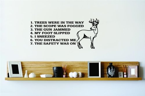 1. Trees were in the way 2. The Scope Was Fogged 3. The Gun Jammed 4. My Foot Slipped 5. I Sneezed 6. You Distracted Me 7. The Safety Was On Hunter Hunting Mens Sport Hobby Hobbies Deer With Sayings Quotes Picture Art – Living Room – Peel & Stick Sticker - Vinyl Wall Decal - Size : 6 Inches X 15 Inches - 22 Colors Available (What Do Christmas Trees Represent)