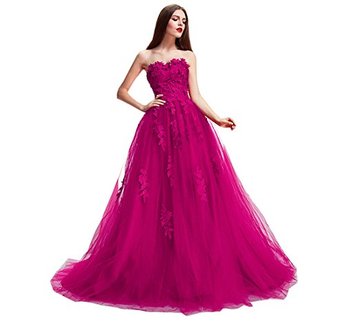 (Nicefashion Women's Gorgeous Sweetheart Long Ball Gown Masquerade Pageant Dresses for Juniors Fuchsia)
