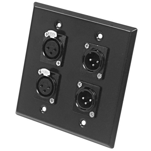 Seismic Audio SA-PLATE25 Black Stainless Steel Wall Plate with 2 Gang XLR Male and Female Connectors