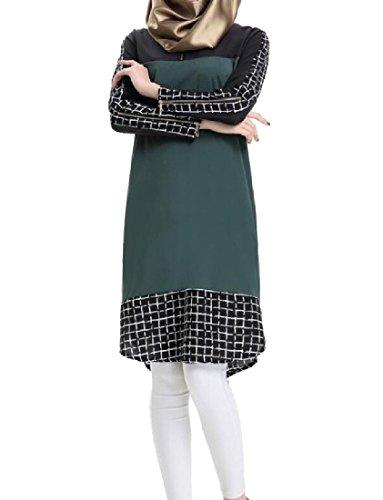 Verde Donne Vestito Congiungere Comodi Midi Musulmani Dai Estensibile Casuale Nerastro Griglia Islamico wSSOxXv