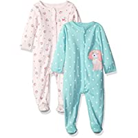 Carter's Girls' 2-Pack Cotton Sleep and Play, Pink Floral/Mint Dot, 3 Months