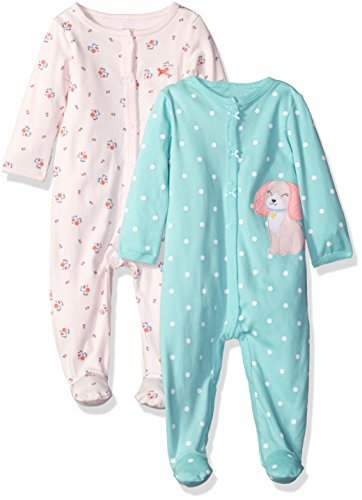 carters-girls-2-pack-cotton-sleep-and-play-pink-floral-mint-dot-6-months