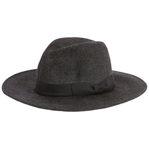 San Diego Hat Women's Faux Wool Felt Wide Brim Hat, Charcoal, One Size