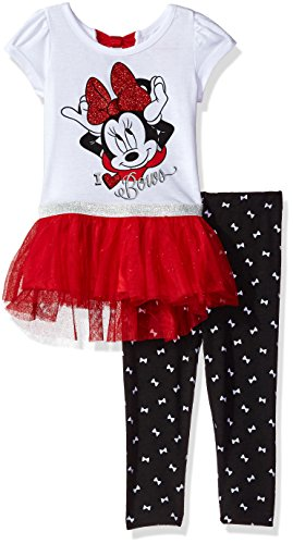 Disney Little Girls' 2 Piece Minnie Mouse Tunic with Tulle Legging Set, White, 4 (Kids Disney Clothes)