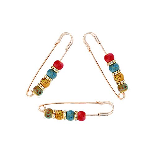 Mystart 3 Pieces Creative Colorful Ceramics Beads Pins Brooches Cardigan Sweater Pins ()