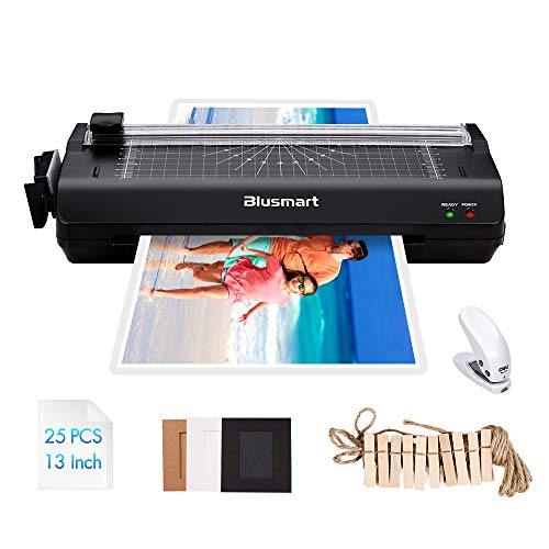 13 inches Laminator, Blusmart Multiple Function A3 Laminator with 25 Laminating Pouches, Paper Cutter, Corner Rounder Laminate for A3,A4,A5,A6 (3m Laminating Machine)