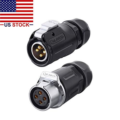 CNLINKO 4 Pin Power Industrial Circular Connector, Male Plug & Female Receptacles, Cable to Cable Connection, Outdoor Waterproof IP67, Easy Plug and Pull, AC DC Signal