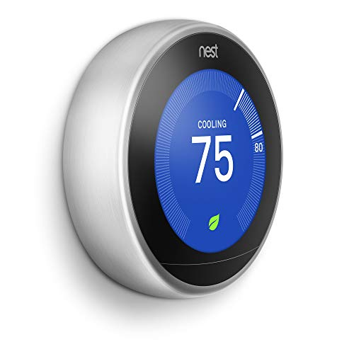 Google, T3007ES, Nest Learning Thermostat, 3rd Gen, Smart Thermostat, Stainless Steel, Works With Alexa