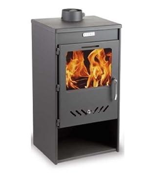 Estufa de leña/chimenea para calefacción kupro directa elegancia con tapa de acero: Amazon.es: Bricolaje y herramientas