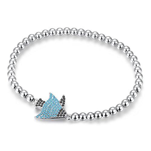 YAN & LEI 4MM Beaded Stretchy Bracelet with CZ Pave Tropical Fish Charm (Tropical Fish Bracelet)