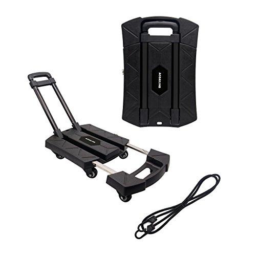 AODAILIHB Portable Folding Luggage Cart 360° Rotate Wheels Load 440 pounds (Black)
