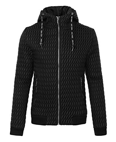 Fit Jacket Long Warm Sleeve Parka Quilted Sport Jacket Winter Jacket Apparel Warm Schwarz Jacket Hooded Men's Casual Slim Rompers 5SHBqyxXw