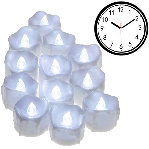 PChero Timer Candles, 12pcs Flickering Battery Operated LED Flameless Tea Light Candles, Perfect for Birthday Wedding Party Home Seasonal & Festival Decor - [Cold White]