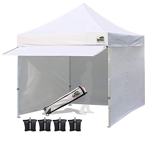 - Eurmax 10 x 10 Pop up Canopy Commercial Tent Outdoor Party Canopies with 4 Removable Zippered Sidewalls and Roller Bag Bonus 4 Canopy Sand Bags & 24 Squre Ft Extended Awning(White)