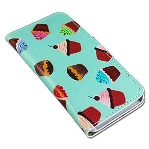 Apple iPhone 5 5S PU-LEATHER CUPCAKES Design Flip protección-móvil casos Flip bag Cover thematys®