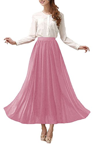 - Afibi Womens Chiffon Retro Long Maxi Skirt Vintage Dress (Medium, Misty Rose)