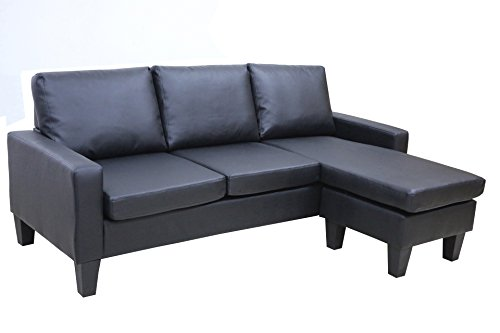 Large Black Leather Modern Contemporary Upholstered Quality