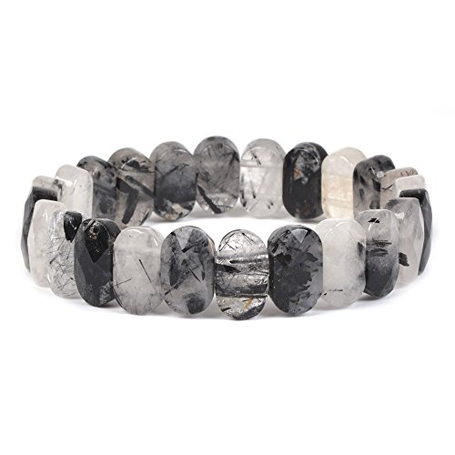 Natural Black Quartz Crystal - Natural Black Tourmaline Rutilated Quartz Gemstone Faceted 14mm Oval Beads Stretch Bracelet 7