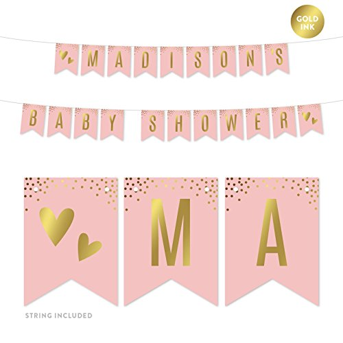 Andaz Press Blush Pink and Metallic Gold Confetti Polka Dots Baby Shower Party Collection, Personalized Hanging Pennant Party Banner with String, Madison's Baby Shower, 5-Feet, 1 Set, Custom Name]()
