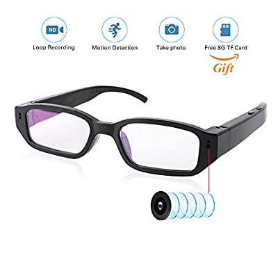 Upgrad Video Camera Eyeglasses+ 8G SD Card - Small Surveillance Camera USB Charger FHD 1080P - Video Loop Recording - Built-in Battery with DVR Video Recorder - Mini Digital Camera As a PC Cam from ALL1ST