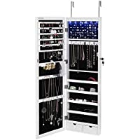 SONGMICS 6 LEDs Jewelry Cabinet Lockable Wall Door...