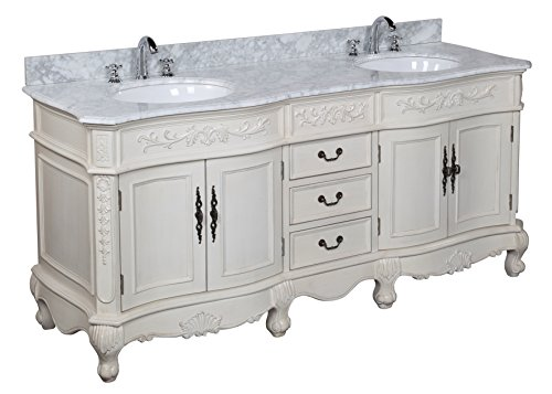 Versailles Marble - Kitchen Bath Collection KBCD21CARR Versailles Bathroom Vanity with Marble Countertop, Cabinet with Soft Close Function and Undermount Ceramic Sink, Carrara/Cream, 72