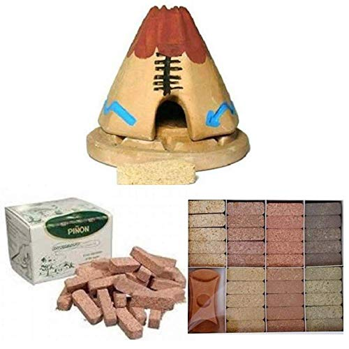 Teepee Incense Burner with 20 Pinon Natural Wood Incense, 40 Pinon Natural Wood Incense, 7 Scent Sampler Wood Incenses (10 Incense Bricks of Each Scent) with Holder - All-in-One
