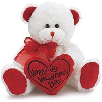 Amazon.com: White & Red Happy Valentines Day Plush Teddy