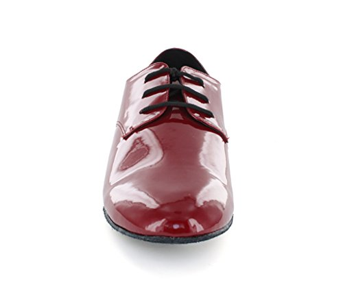Leather Ballroom Dance Men's JF250804 Penny Minitoo Latin Red Patent Tango Party Shoes wpIxTc1q